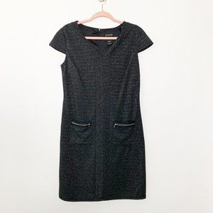 NWT EN FOCUS Ribbed Printed Shift Dress 10 #4393